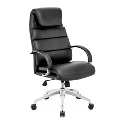 Zuo Modern - Lider Comfort Office Chair Black - This chair has a leatherette wrapped seat and back cushions with chrome solid steel arms with leatherette pads. There is a height and tilt adjustment with a chrome steel rolling base.