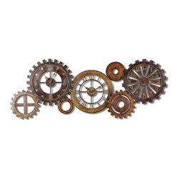 Spare Parts Gear Wall Clock Grouping - *This unusual grouping of clocks is made of hand forged metal finished in a combination of dark chestnut brown, heavily antiqued gold and silver with burnished details.