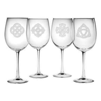 Susquehanna Glass - Celtic Knots All Purpose Wine Glass, 19oz, S/4 - Each 19 ounce wine glass is sand etched with a different Celtic Knot design. Dishwasher safe. Sold as a set of four. Made and decorated in the USA.