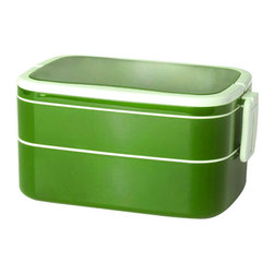 Genmert - Mulberry Double-Stack Bento Box With Handle, Lime - Keeping your food contained stylishly may just prove to be an appetizing endeavor with these contemporary lunch boxes. Days of flimsy containers are long gone - you'll have fun presenting meals in the Mulberry Oval Bento Box, with its attractive colors, lock-on lid and convenient handles for easy transport. Non-toxic, BPA-free, dishwasher and microwave-safe for worry-free food storage.