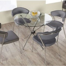 Euro Style Hydra 5 Piece Dining Set with Draco Chairs - Gray - For those seeking a sleek, modern look, the table in this set features a chromed metal frame and a glass top, and the chairs are upholstered in gray faux leather.