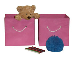 """Sourcing Solutions, Inc. - 2 Pc Folding Storage Bin Set, Pink - RiverRidge® Home Products' 2 Piece Folding Storage Bin set features 2 large-capacity bins that hold toys, games, art/craft supplies, clothes and more.  Keep in the kids room, family room, or any room in the house that could use extra storage: fits on a closet shelf, bookshelf or desk.  Each set includes 2 bins with open cut-out handles; bins fold flat when not in use.  Made of non-woven polypropylene and paperboard.  Assembled size: 10.5""""W x 10.5""""D x 10""""H."""