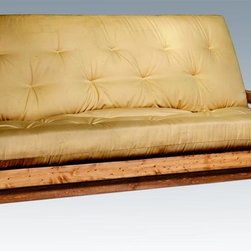 Montana Woodworks - Handcrafted Futon - Includes deluxe inner spring mattress. Handcrafted with heirloom quality. Sawn squared timber and trim piece. Non-removable exterior mattress shell. Durable and fit with rustic features. Personally signed by artisans. Mortise and Tenon joinery style. A+ rating fron BBB. Made from solid US grown wood. Stained and lacqured finish. Made in USA. Mattress: 75 in. L x 54 in. W. Overall: 87 in. L x 36 in. W x 52 in. H (170 lbs.). Use and Care Instructions. Assembly Instructions. WarrantyHomestead Collection of fine rustic furniture features timbers and trim pieces similar reminiscent of a timber framed home on the American frontier..From Montana Woodworks, the largest manufacturer of handcrafted quality log furnishings in America comes the all new Homestead Collection line of furniture products. The artisans rough saw all the timbers and accessory trim pieces for a look uniquely reminiscent of the timber-framed homes once found on the American frontier. The mortise and tenon joinery system ensures a stable, strong platform for years of trouble free use. To best protect your investment, we recommend the purchase of an accessory cover.