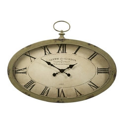 """IMAX - Sophie Oval Wall Clock - The Sophie oval wall clock features an antiqued sage green finish and looks great with a variety of decor. Item Dimensions: (24.5""""h x 35.75""""w)"""