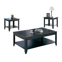 Monarch Specialties - Monarch Specialties I 7985 Cappuccino 3 Piece Coffee Table Set - This contemporary three piece occasional table set offers all the urban sophistication you love with none of the pretense that all too often accompanies it. The smooth surfaces, minimal embellishment and straight lines that characterize contemporary decor are all present here, from flat rectangular tops that provide an ideal resting place for lamps and decorative accents to sleek legs that end in tapered feet. A rectangular coffee table is perfectly proportioned for pairing with your sofa or couch, and each of the matching end tables echoes the lower storage shelf featured on the coffee table for a cohesive living room table collection. A rich cappuccino finish wraps each piece for a chic and stylish conclusion. Cocktail Table (1), End Table (2)