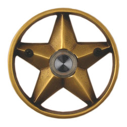 """Waterwood - Brass Lone Star 3 1/4"""" Doorbell in Antique Brass - The Waterwood Lone Star doorbell is a symbol of Texan independence. Displaying this doorbell will help you project a spirit of individualism from the front door of your home. This solid brass doorbell is crafted using the sand casting technique. It is then hand finished and coated with a protective laquer to withstand the elements. Waterwood doorbells are easy to install and will add personality to your home. It comes with a lighted push button and mounting screws."""