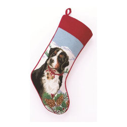 "Peking Handicraft - Bernese Mountain Dog Needlepoint Stocking - With its charming vintage design and intricate needle point quality– our adorable pet stockings are ready to fill with toys and treats for your best friends!  This well made stocking features a plush velveteen color coordinated back and is meant to last for years!  Indeed Decor will donate 20% of profits to animal rescue charities.  Dry Clean Only. 11"" x 18""."