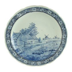 Royal Sphinx Boch - Large Consigned Vintage Blue Delft Plate Summer - Product Details