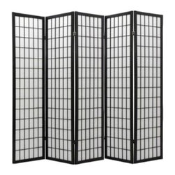 None - Oriental Shoji Black 5-panel Room Divider Screen - Colors: Black, White; Materials: Wood, rice paper; Indoor/Outdoor: Indoor; Use: Room divider; Dimensions: 71 inches high x 89 inches wide x 1 inch deep