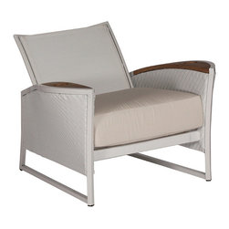 Frontgate - Dolphin Outdoor Recliner with Cushion - Each piece is crafted with a distinctive mix of materials and nautical details. All-weather extruded aluminum frames. 100% solution-dyed acrylic fabric. Premium, high-density foam cushions included. Teak details and tabletops. The Dolphin Collection by Summer Classics&reg is designed in the spirit of nautical adventures, with rounded, billowing edges and teak details. Sunbrella cloth, that evokes the characteristics of catamaran sails, covers the sling back of the recliner. Seat arms and table sides are woven in high-quality; white or mahogany resin wicker, woven in a fine herringbone pattern. Frames are crafted from all-weather extruded aluminum. Generous seating is equipped with extra plush cushions, covered in high-performing, solution-dyed fabrics.  .  .  .  .  . Arms and table sides are wrapped in high-quality; resin wicker, woven in a fine herringbone pattern . Note: Due to the custom-made nature of the cushions, any fabric changes or cancellations made to the Dolphin Collection by Summer Classics&reg must be made within 24 hours of ordering.