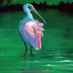 """Allison Richter Wildlife Studio - Spoonbill - """"On the Flip-side"""" - Glicee Print for Wall Decor 12"""" h x 18"""" w - Bring this mild breeze southern coastal picture into your home or office where the featured roseate spoonbill can perch on a featured wall of your choice."""