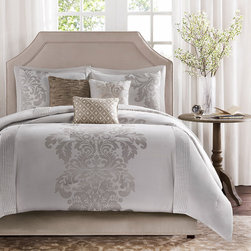 Madison Park - Madison Park Randall 7-piece Comforter Set - This seven-piece comforter set is both good-looking and comfortable on any bed. It comes with a comforter,two shams,a bedskirt,and three pillows,and the neutral color goes well anywhere. All the materials are hypoallergenic and machine washable.