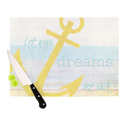 "Kess InHouse - Alison Coxon ""Let Your Dreams Set Sail"" Cutting Board (11"" x 7.5"") - These sturdy tempered glass cutting boards will make everything you chop look like a Dutch painting. Perfect the art of cooking with your KESS InHouse unique art cutting board. Go for patterns or painted, either way this non-skid, dishwasher safe cutting board is perfect for preparing any artistic dinner or serving. Cut, chop, serve or frame, all of these unique cutting boards are gorgeous."