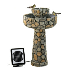 KOOLEKOO - Outdoor Wishing Well Solar Water Fountain - Grace your garden with rustic romance and the music of flowing water! Elegant faux cobblestone fountain features the convenience of two power options: Solar panels for cord-free enjoyment, or an optional electrical plug for shady locations or overcast days.