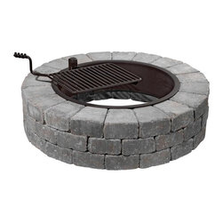 Rockwalls - Grand Fire Pit Kit, Bluestone, With Grate & Capping Stones - A DIY Fire Pit Kit that will produce a stunning professional looking wood burning fire pit, in just an afternoon! No matter what your DIY expertise level.