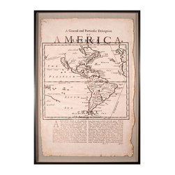 Vintage Map of America - Framed - Achieve the grand, stylish look of a fine heirloom display fit for a home gallery with the Vintage Map of America. Part cartography, part history text, this print of a 1780s antique page has been tea-stained and burned for an air of authentic age, then mounted on a linen backdrop within a sleek wood shadowbox. The final appearance is of unmistakable culture and historical taste.