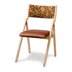 Holsag - Milan Upholstered Folding Chair (Teak) - Finish: TeakMade of 8 plys to a finished thickness of 7/16 in., one piece shell, upholstered. Shown here in Natural finish with Vinyl Silverado Rust seat and Haiku Henna back. High Density Foam. The chair is assembled with hardwood dowels that are connected with metal to metal hardware coated with Loctite. Elaborate 9-Step finishing process - Hand Stained Wood Finish, slight variations in color may occur. The bare wood of the assembled chair is thoroughly sanded using 100 grit paper. One coat of stain is sprayed onto the entire chair. The stain is hand wiped to ensure an even color and maximum penetration into the wood. The chair is inspected and any necessary adjustments made. One coat of a catalyzed sealer is sprayed onto all wood parts to completely seal the wood. Once dry, the sealer is sanded using 280 grit paper. A final sanding is done using Scotch Brite pads to remove any sanding marks. A catalyzed Lacquer is sprayed on. This lacquer is very durable and will stand up in a commercial environment. A final inspection is performed prior to packaging to ensure a high level of quality control. Chair inside: 17 in.. Chair outside: 19 in.. Seat Dimension: 16.25 in. W x 16.25 in. D x 18 in. H. Overall Dimension: 22.75 in. D x 32 in. H (16 lbs)