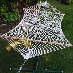 Algoma Single Cotton Rope Hammock - Made for one, this 100% natural rope hammock is the perfect place to spend a restful afternoon.   It's not only attractive it's also strong and comfortable.
