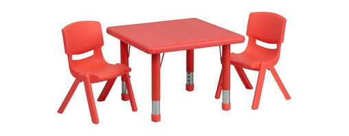 "Flash Furniture - 24"" Adjustable Red Plastic Activity Table Set with 2 School Stack Chairs - This table set is excellent for early childhood development. Primary colors make learning and play time exciting when several colors are arranged in the classroom. The durable table features a plastic top with steel welding underneath along with height adjustable legs. The chair has been properly designed to fit young children to develop proper sitting habits that will last a lifetime."