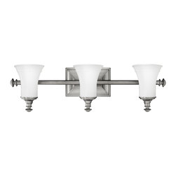 Hinkley Lighting - Hinkley Lighting 5833AN Alice Transitional Kitchen / Vanity Light - Alice's classic design features decorative half round turnings and coordinating cast end caps. Available in Antique Nickel and Brushed Bronze finishes to complement the elegant etched opal glass, this style will add beauty to any décor.