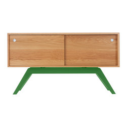 Eastvold Furniture - Elko Credenza Small, White Oak, Green Base - This use-anywhere credenza takes midcentury design into the new millenium with sleek lines, ample storage and functionality in a range of colors to fit any taste and decor. Adjustable shelves and wire access hide behind the smooth sliding doors.