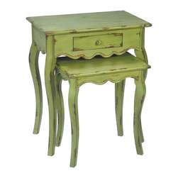 "Sterling Industries - Sterling Industries Verde Stacking Tables Set of 2 X-1200-15 - This Sterling Industries stacking tables set features two separate tables with coordinating but unique designs. The larger table features a drawer for added function. Both tables have been done in a beautiful and rich ""Verde"" green hue, with distressed detailing for an antique-like appearance."