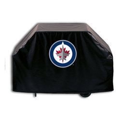"""Holland Bar Stool - Holland Bar Stool GC-WinJet Winnipeg Jets Grill Cover - GC-WinJet Winnipeg Jets Grill Cover belongs to NHL Collection by Holland Bar Stool This Winnipeg Jets grill cover by HBS is hand-made in the USA; using the finest commercial grade vinyl and utilizing a step-by-step screen print process to give you the most detailed logo possible. UV resistant inks are used to ensure exeptional durablilty to direct sun exposure. This product is Officially Licensed, so you can show your pride while protecting your grill from the elements of nature. Keep your grill protected and support your team with the help of Covers by HBS!"""" Grill Cover (1)"""