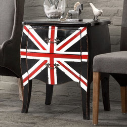 Zuo Modern - Zuo Modern Union Jack Small Cabinet - Distressed Black - 98110 - Shop for Cabinets from Hayneedle.com! The perfect accent piece or nightstand the Zuo Modern Union Jack Small Cabinet - Distressed Black is fun and functional. With its distressed Union Jack pattern two spacious drawers and curvy design this cabinet is a must-have.About Zuo ModernZuo Modern designs products with a simple philosophy in mind: clean modern shapes combined with classic colors. All Zuo Modern products are put through rigorous processes to ensure quality materials and production ensuring that your item reaches you in top condition. Yet Zuo pieces are modestly priced for today's consumers. Zuo works to inspire a sense of value and worth along with the significance of aesthetics. If it passes the Wow this feels solid test along with the This looks amazing and the What a great price test you know it's a Zuo product.