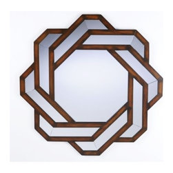 """Knot Mirror - Cleverly designed, the """"Knot"""" mirror will add a whimsical touch to your decor.  This mirror is crafted of solid wood with a wood tone finish."""