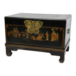 Oriental Furniture - Black Lacquer Small Trunk - This black lacquered keepsake trunk features fine, hand-painted Ming era art motifs and a rich, black lacquer finish. A traditional wedding or anniversary gift in both the Far East and the West, this chest features decorative brass handles at each end, and a lacquered brass butterfly hasp.  It also comes with a decorative, four-legged display stand with gold, geometric border design.