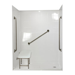 """Ella's Bubbles - Ella Standard Plus 36 Barrier Free, 60""""W x 33.375""""D x 77.75""""H, Right Drain - The Ella Standard Plus 36, (5-Piece) 60 in. x 33 in. Roll in Shower is manufactured using premium marine grade gel coat fiberglass which creates a smooth, beautiful, long lasting surface with anti-slip textured shower base floor. Ella Standard Plus 24 Barrier Free Shower walls are reinforced with wood and steel providing flexibility for seat and grab bar installation at needed height for any size bather. The integral self-locking aluminum Pin and Slot System allows the shower walls and the pre-leveled shower base to be conveniently installed from the front. Premium quality material, no need for drywall or extra studs for fixture support, 30 Year Limited Lifetime Warranty (on shower panels) and ease of installation make Ella Barrier Free Showers the best option in the industry for your bathtub replacement or modification needs. The Ella Standard Plus 36 Barrier Free, Roll In Shower comes with three (3) 36 inch satin finish straight stainless steel grab bars (not installed to allow for custom positioning), a four legged fold-up seat, a textured slip resistant Grip Sure™ floor, a collapsible white rubber dam which allows for easy wheelchair roll over into the shower stall and keeps water inside the shower."""