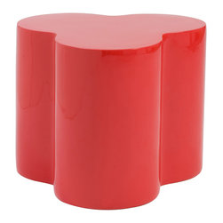 Euro Style - Euro Style Sloan Stool 25857RED - If you tried to turn a Rubic's Cube into a set of stools they might look something like this. Clustered together they make a great, modern splash of color. Separately, they're three cylindrical columns gracefully molded into a singular High gloss fiberglass seat.