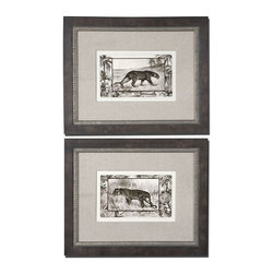 Grace Feyock - Grace Feyock Big Cats I, II Wall Art / Wall Decor - Set of 2 X-34314 - Prints are surrounded by sand colored, woven, fabric mats. The outer frames have a burl veneer with medium wood tone finish and gray wash. The inner frames are silver leaf with brown and black wash and heavy gray glaze. Prints are under glass.