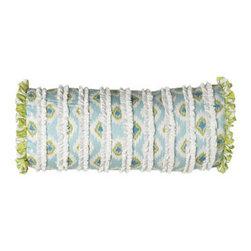 "Dena Home - Dena Home Neckroll Pillow, 18"" x 7"" - Perky patterns in blues and greens make this cotton bed linens ensemble an irresistible choice. Quilts and shams have cotton batting. Dust skirts have a 15"" drop. Pillows have a polyester fill. Spot clean pillows; machine wash linens. Imported. ...."