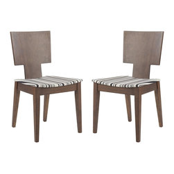 Safavieh - Safavieh Rick Side Chairs X-2TES-A1006RCM - Clean angular lines get softened with a modern striped fabric in the Rick side chair. Crafted from sturdy eco-friendly rubber wood, finished in dark walnut, Rick pays homage to mid-century styling.