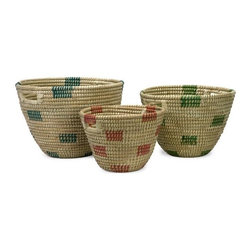 """IMAX - Dunn Sea Grass Catch-All Baskets - Set of 3 - The simple style of this set of three sea grass catch-all baskets coordinates effortlessly in a variety of room settings. Item Dimensions: (10.25-12-14""""h x 12-14.75-17.5""""d)"""