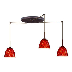 Besa Lighting - Besa Lighting 3JW-447041 Vila 3 Light Cord-Hung Mini Pendant - Vila has a classical bell shape that complements aesthetic, while also built for optimal illumination. Our Garnet glass is full of floating, vibrant red tones with a mix of black and white tones behind them. When the glass is lit the fiery color palette illuminates to exude a harmonious display. This decor is created by rolling molten glass in small bits of deep red hues called frit along with black glass powders. The result is a multi-layered blown glass, where frit color is nestled between an opal inner layer and a clear glossy outer layer. This blown glass is handcrafted by a skilled artisan, utilizing century-old techniques passed down from generation to generation. Each piece of this decor has its own artistic nature that can be individually appreciated. The cord pendant fixture is equipped with three (3) 10' SVT cordsets and a 3-light large round canopy, three (3) suspension stemhooks included.Features: