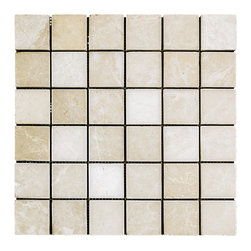 STONE TILE US - Stonetileus 30 pieces (30 Sq.ft) of Mosaic White 2x2 Tumbled - STONE TILE US - Mosaic Tile - White 2x2 Tumbled Specifications: Coverage: 1 Sq.ft size: 2x2 - 1 Sq.ft/Sheet Piece per Sheet : 36 pc(s) Tile size: 2x2 Sheet mount:Meshed back Stone tiles have natural variations therefore color may vary between tiles. This tile contains mixture of white - light brown - dark brown - and color movement expectation of low variation, The beauty of this natural stone Mosaic comes with the convenience of high quality and easy installation advantage. This tile has Tumbled surface, and this makes them ideal for floor, walls, kitchen, bathroom, outdoor, Sheets are curved on all four sides, allowing them to fit together to produce a seamless surface area. Recommended use: Indoor - Outdoor - High traffic - Low traffic - Recommended areas: White 2x2 Tumbled tile ideal for floor, walls, kitchen, bathroom, Free shipping.. Set of 30 pieces, Covers 30 sq.ft.