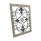 Distressed Wooden Tan Frame Wrought Iron Fleur de Lis Wall Decor 22 X 16 In. - This antique distressed fleur de lis wall decor speaks of a long glorious life on the Champs-Elysees. Now, this beautiful piece of black wrought iron art can be displayed in your own home. A single metal wall hanger on the reverse of the distressed tan wooden frame allows it to hang from a single nail or wall hook. The remarkable frame measures 22 inches tall, 16 inches wide, and 1 inch deep. This classic piece is an excellent cultural home accent with neutral colors that would look decidedly elegant in any setting.