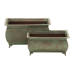 Unique and Distinctive Metal Planter, Set of 2 - Description: