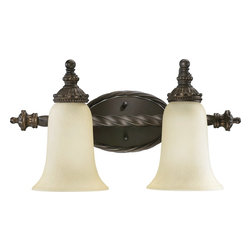 Quorum Lighting - Quorum Lighting Alameda Traditional Wall Sconce X-68-2-6835 - This Quorum Lighting Alameda Traditional Wall Sconce is a fabulous two-light fixture. Reminiscent of Old World European design, it features a frame with scrolling, rope-wound arms in a rich and warm, old bronze finish that supports two shapely, amber scavo glass shades. It's a piece that's sure to cast a warm and soothing glow in any space.