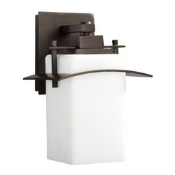 "Quorum International - Quorum International 7200-8 1 Light 8"" Down Lighting Outdoor Wall Sconce from th - Contemporary / Modern 1 Light 8"" Down Lighting Outdoor Wall Sconce from the Kirkland CollectionDoes your outdoor space need some light? Looking for modern style to spice up the d�cor? Look no further than this stunning 8"" outdoor wall sconce from the Kirkland collection.  Featuring a bold, satin opal shade to offer clean, diffuse light while a sleek roof offers a splash of style.  UL listed for wet locations, this rugged fixture is built to stand up to the elements without sacrificing style.Features:"