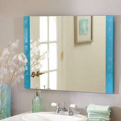 Decor Wonderland - Resto Frameless Wall Mirror - 23.6W x 31.5H in. Multicolor - SSM173 - Shop for Bathroom Mirrors from Hayneedle.com! The Resto Frameless Mirror brings a fun contemporary atmosphere to your home. Adding a touch of color with a bubble design on blue frosted glass this mirror would look great in your bathroom bedroom or living room. Constructed of strong 3/16 glass and metal with a durable double coated silver backing with seamed edges this mirror will last for many years. Arriving ready to hang the hardware is included for your convenience.Decor Wonderland of USDecor Wonderland US sells a variety of living room and bedroom furniture mirrors lamps home office necessities and decorative accessories. Decor Wonderland strives to add variety to their selection so that every home is beautifully and perfectly decorated to suit their customer's unique tastes.