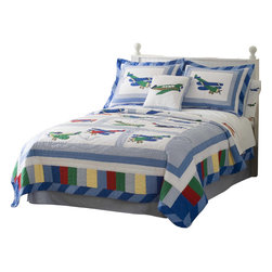 Pem America - Fly Away Twin Quilt with Pillow Sham - Let that little pilot take flight with Fly Away a bright and fun quilt!  This quality hand crafted pattern is made of pieced materials and delicately sewn together.  The detail will amaze you. Hand crafted quilt set includes 1 twin quilt (68x86 inches) and 1 standard sham (20x26 inches). Face cloth and fill are 100% natural cotton.  Prewashed for out of the bag comfort. Hand crafted with embroidery. Machine Washable.