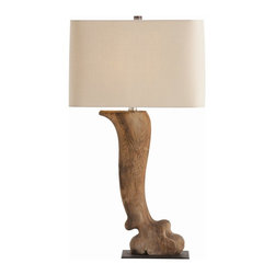 Arteriors - Dermont Lamp - Can't get to Paris for a beautiful antique lamp? Why not opt for this beautifully hand-carved replica? The wood leg attaches to a flat iron base and supports a natural linen shade, resulting in an elegantly rustic lamp suitable for any room.