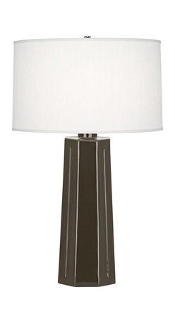 """Robert Abbey - Contemporary Robert Abbey Mason Brown Tea Ceramic Table Lamp - The statuesque design of this brown tea glaze finish ceramic table lamp creates an impressive look in any home. Shaped to resemble a monument base or architectural column topped with a beautifully simple oyster linen drum shade. A beautiful Robert Abbey lamp that will enhance your home for years to come. Tapered contemporary table lamp. Warm brown tea finish. Polished nickel finish metal accents. Oyster linen shade. Made in U.S.A. 3-way switch. Takes one maximum 150 watt or equivalent 3-way bulb (not included). 26"""" high. Shade is 15 1/2"""" across the top 16 1/4"""" and """" across the bottom and 9 1/2"""" high. Base footprint is 6 1/2"""" wide.        Tapered contemporary table lamp.  Warm brown tea finish.  Polished nickel finish metal accents.  Oyster linen shade.  Made in U.S.A.  3-way switch.  Takes one maximum 150 watt or equivalent 3-way bulb (not included).  26"""" high.  Shade is 15 1/2"""" across the top 16 1/4"""" and """" across the bottom and 9 1/2"""" high.  Base footprint is 6 1/2"""" wide."""