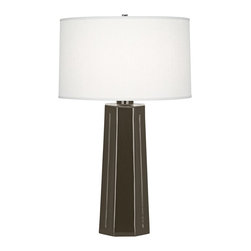"Robert Abbey - Contemporary Robert Abbey Mason Brown Tea Ceramic Table Lamp - The statuesque design of this brown tea glaze finish ceramic table lamp creates an impressive look in any home. Shaped to resemble a monument base or architectural column topped with a beautifully simple oyster linen drum shade. A beautiful Robert Abbey lamp that will enhance your home for years to come. Tapered contemporary table lamp. Warm brown tea finish. Polished nickel finish metal accents. Oyster linen shade. Made in U.S.A. 3-way switch. Takes one maximum 150 watt or equivalent 3-way bulb (not included). 26"" high. Shade is 15 1/2"" across the top 16 1/4"" and "" across the bottom and 9 1/2"" high. Base footprint is 6 1/2"" wide.        Tapered contemporary table lamp.  Warm brown tea finish.  Polished nickel finish metal accents.  Oyster linen shade.  Made in U.S.A.  3-way switch.  Takes one maximum 150 watt or equivalent 3-way bulb (not included).  26"" high.  Shade is 15 1/2"" across the top 16 1/4"" and "" across the bottom and 9 1/2"" high.  Base footprint is 6 1/2"" wide."