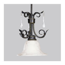 Progress Lighting - Progress Lighting P5060 Veranda Single-Light Mini Pendant - In the Veranda collection, a rich Espresso finish highlights graceful curves, acanthus leaves and faux rock crystal drops for refined fixtures that make a grand statement. When lit, the subtle colors of Venetian marble glass cast a romantic glow, and the delicate detailing of the glass.Features: