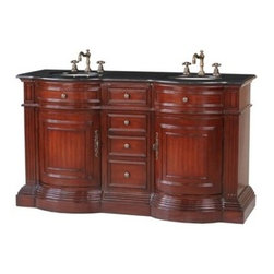 "Stufurhome - Stufurhome 62"" Catherine Double Sink Vanity with Black Galaxy Granite Top - Rich - Stufurhome has the perfect bathroom vanity for your remodel at a perfect price. Stufurhome's vanities are pieces of finely made furniture detailed with rich color, charming woodwork, and ample storage space. Stylish, tasteful and practical, Stufurhome.This Catherine double sink vanity is a perfect bathroom accessory with an antique look. It can produce a magical effect in any large bathroom and its rich cheery red finish looks absolutely eye catching. The cabinet with shelves and drawers can fit in a lot of useful items and is excellent for your storage needs.FeaturesClassic double sink vanityMarvelous cherry red polished vanity 4 useful drawers between the 2 doors2-door large storage space with shelves6 pre drilled faucet holesAttractive curved front with wooden bordersMetallic handles with antique finish* Actual color may vary due to different type of computer display.*Faucet sold separately Ivory white undermount sinks62""W x 22""D x 36""HStufurhome 1 Year Limited-WarrantyHow to handle your counterView Spec Sheet Natural stone like marble and granite, while otherwise durable, are vulnerable to staining from hair dye, ink, tea, coffee, oily materials such as hand cream or milk, and can be etched by acidic substances such as alcohol and soft drinks. Please protect your countertop and/or sink by avoiding contact with these substances. For more information, please review our ""Marble & Granite Care"" guide."