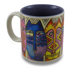 Zeckos - Colorful Laurel Burch Tribal Felines Ceramic Coffee/Tea Mug - Now you can wake up each morning with Laurel Burch sipping hot coffee or tea from this fabulous mug This ceramic mug features the 'Tribal Felines' design from her 'Fantastic Felines' collection featuring colorful cats, and a complementing purple interior. This 3.75 inch tall, 3.5 inch diameter (9x8 cm) mug holds 14 ounces of your favorite beverage, and is microwave and dishwasher safe. It makes the perfect gift for collectors or fans of Laurel Burch art, and is a must-have piece for your own assortment